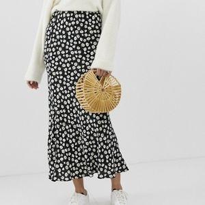 ASOS 12 Daisy Print Bias Maxi Skirt Boho Floral